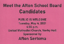 Flyer with details of the May 4th Board Candidates