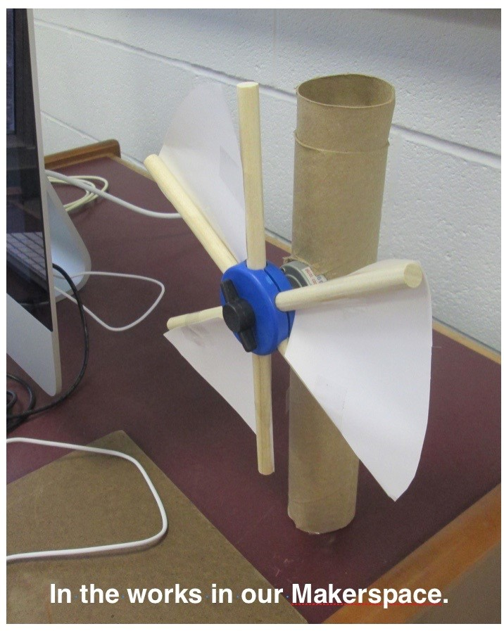 ACSLIB Poster: Model windmill made of found materials in our MakerSpace.