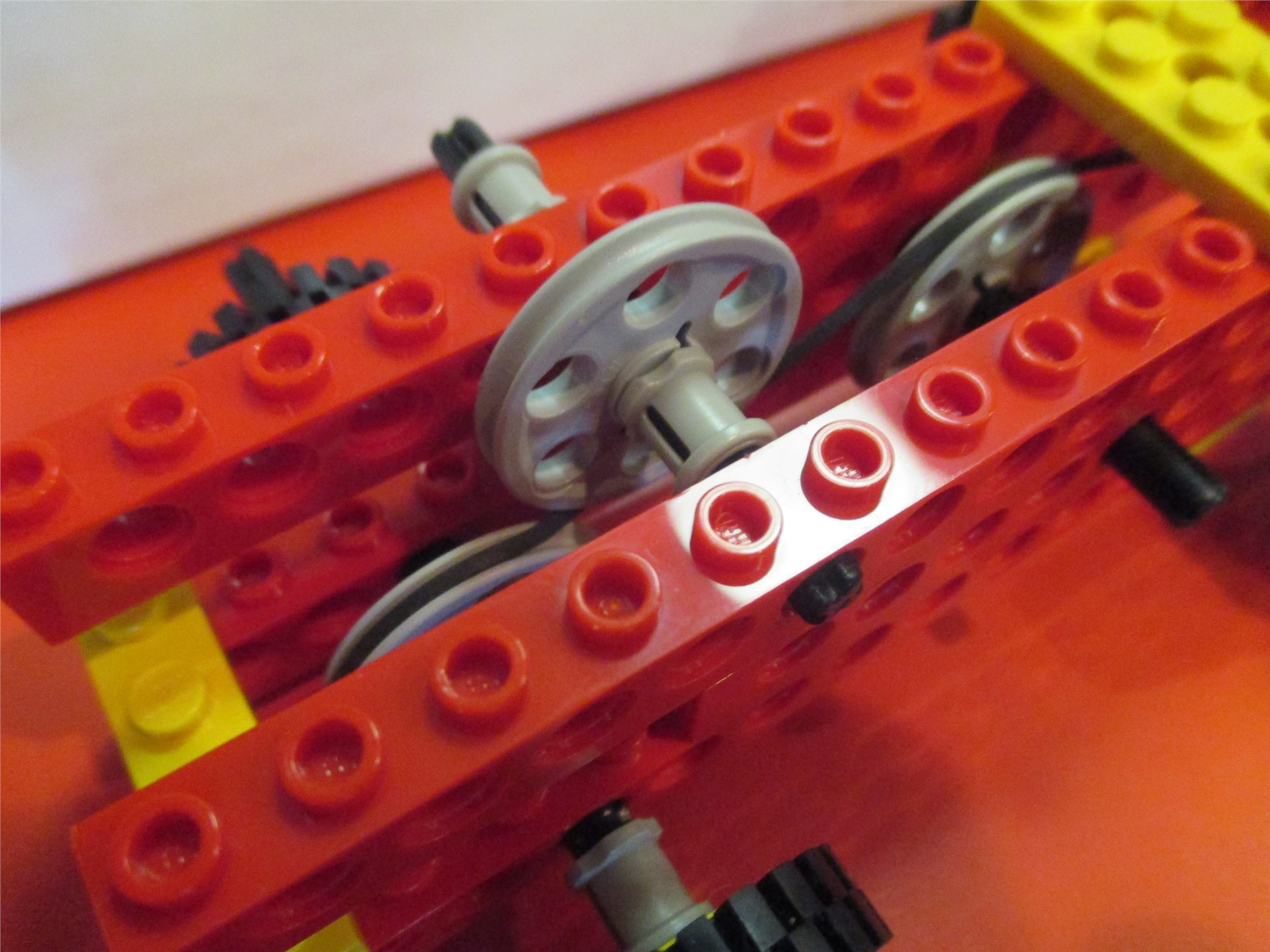 Close up of gearing on a student-created Lego vehicle.