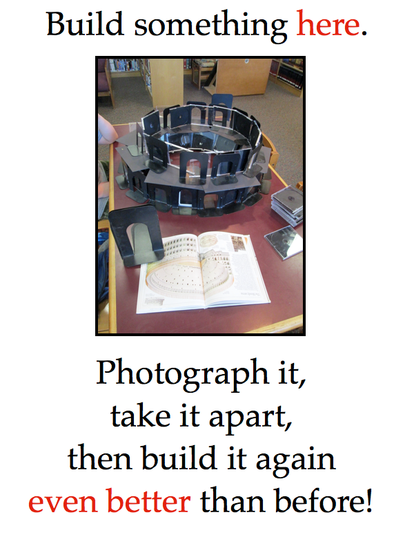 "Poster with image of ""coliseum"" made of CD covers and book-ends."