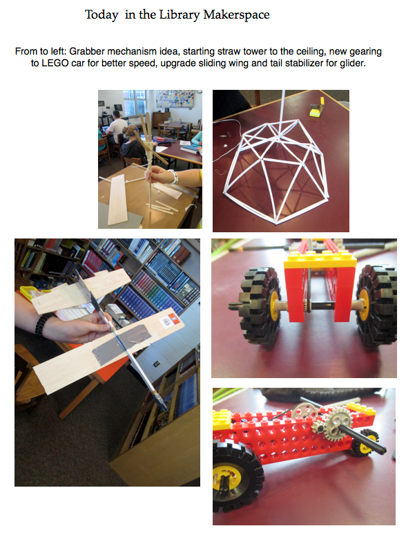 Poster featuring several images of design projects: legos, straws, balsa wood.