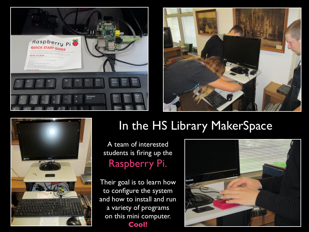 Poster with composite images of configuring a Raspberry Pi work station.