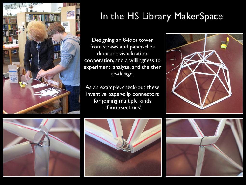 Poster with composite images of students constructing a dome from milk straws.