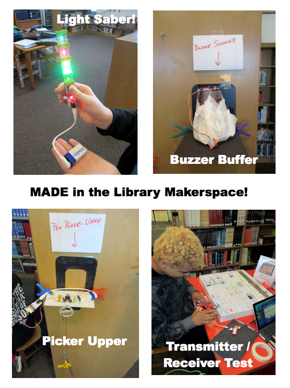 Poster of composite images featuring design projects made with littleBits components.