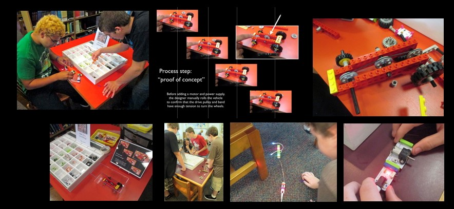 Composite image of students combining electrical components to a LEGO vehicle.