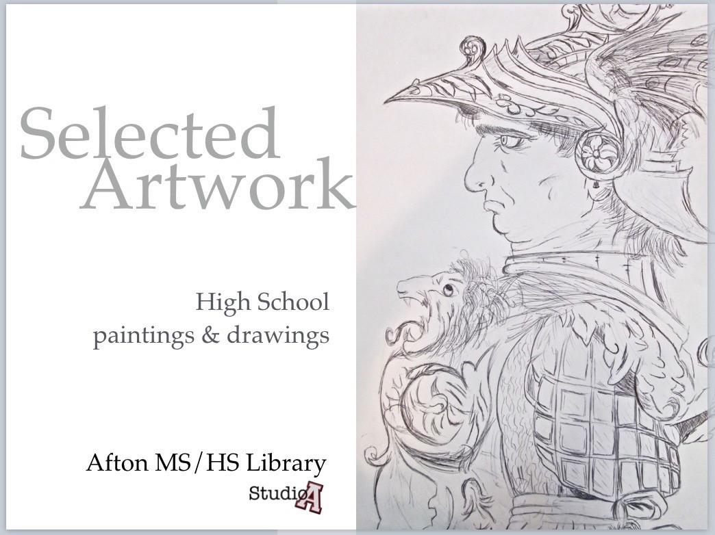ACSLIB Poster: Promotional poster for student art show featuring student artwork.