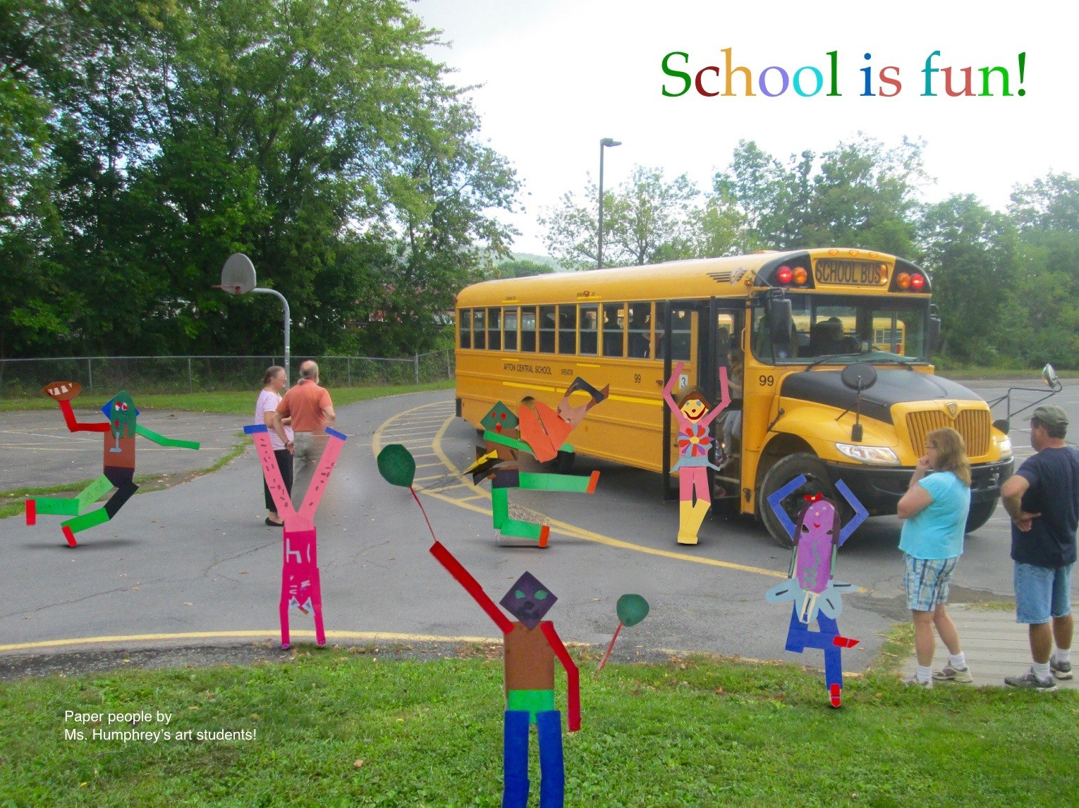 ACSLIB Poster: Playful image of elementary paper figures boarding a school bus.