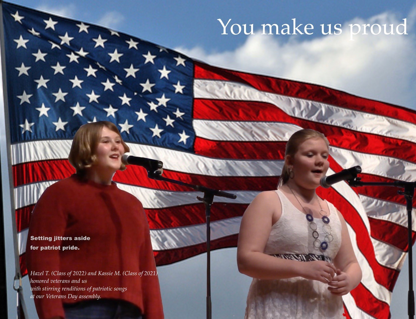 ACSLIB Poster: Two student vocalists against backdrop of the flag.