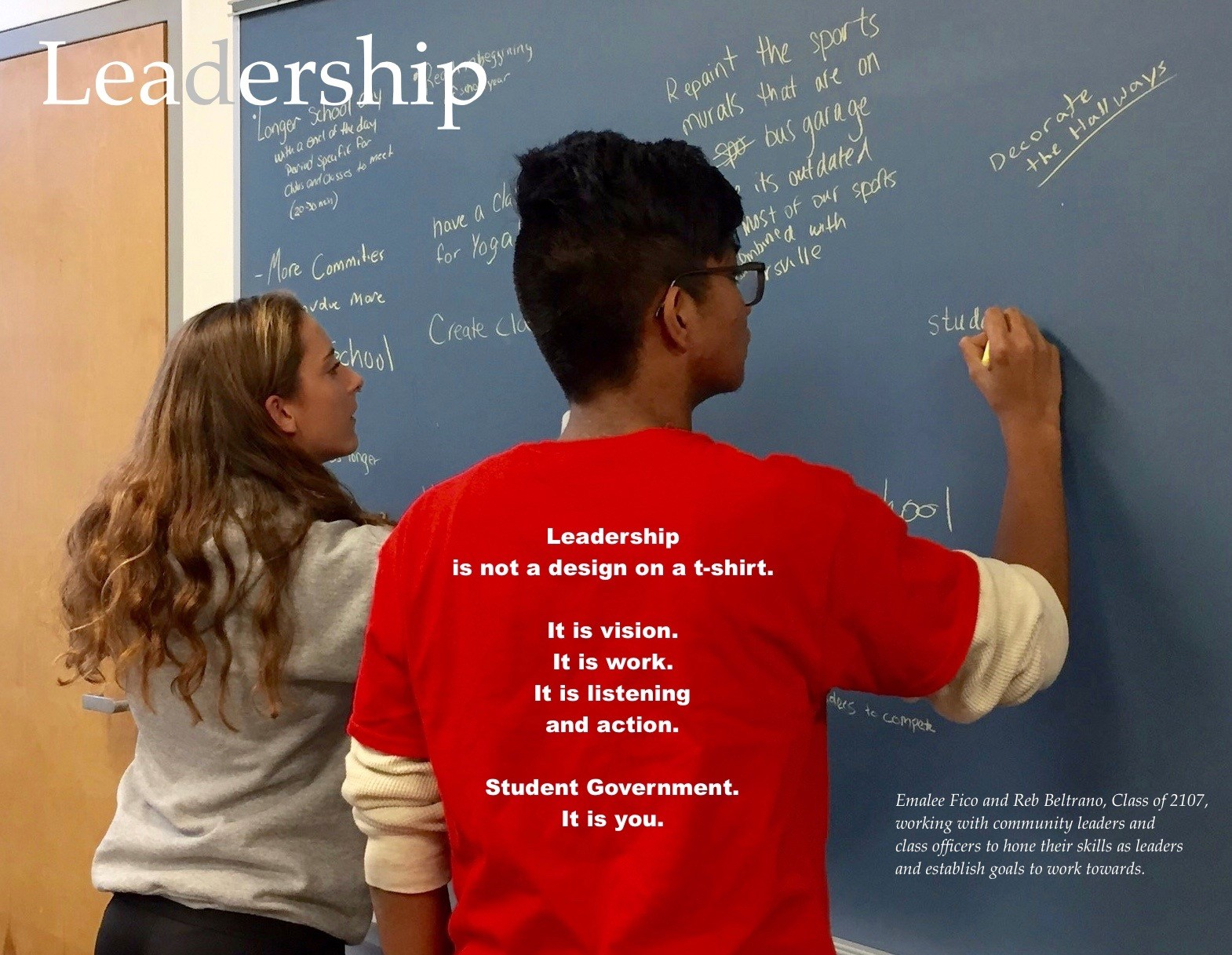 ACSLIB Poster: Two students leading a leadership session.