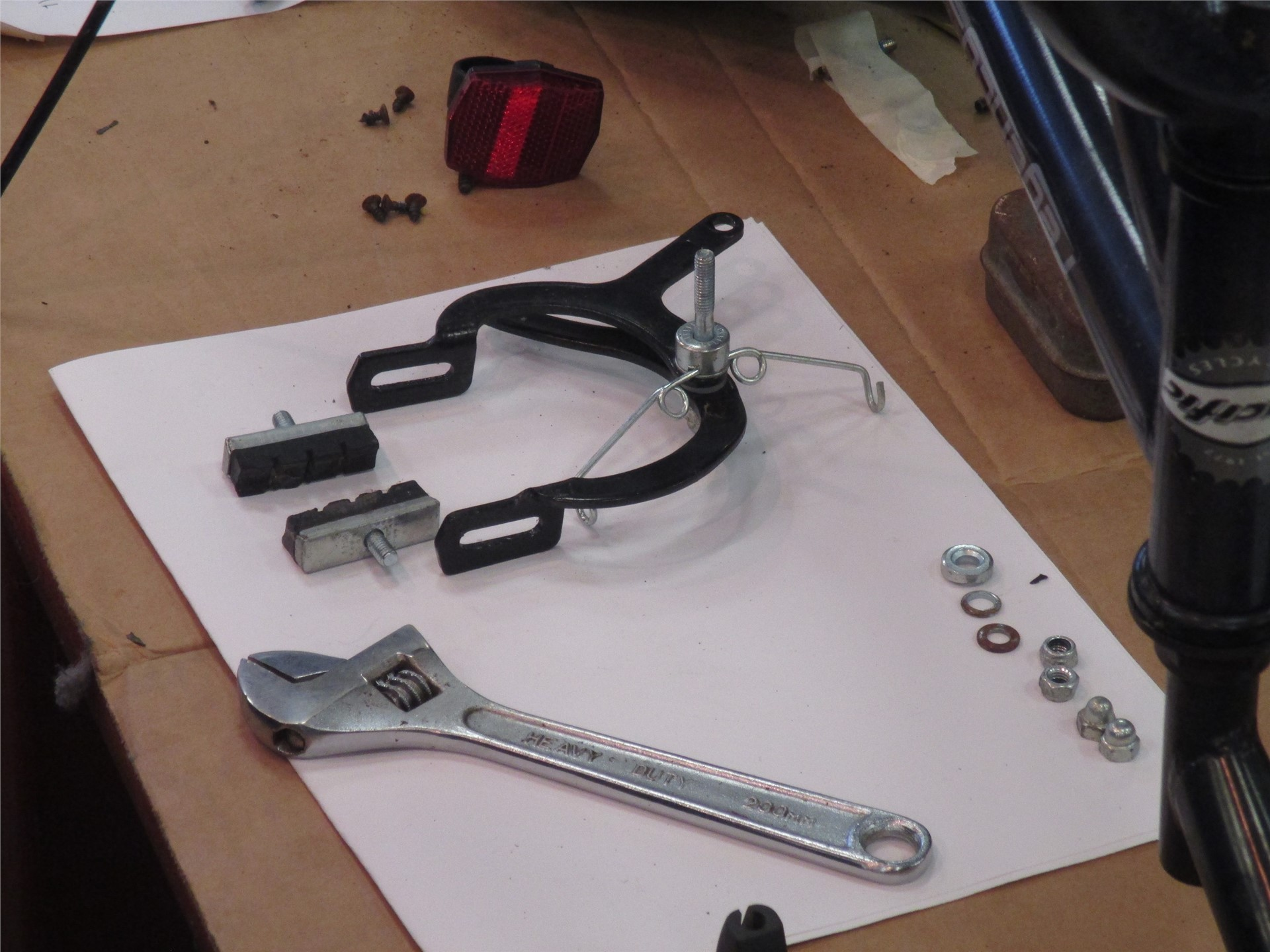 Image of bicycle parts and tools.