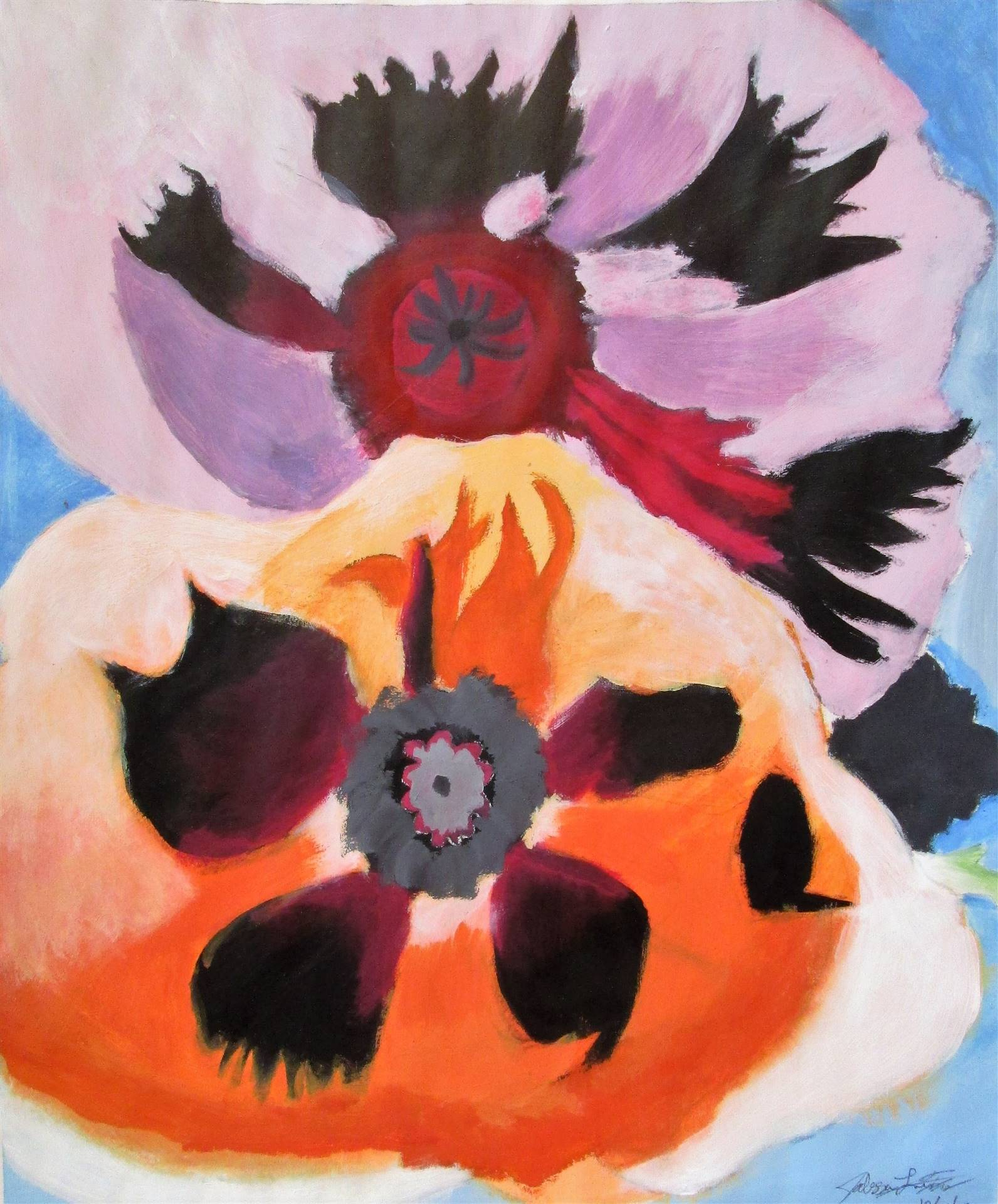 Image of student artwork based on the artist Georgia O'Keefe.
