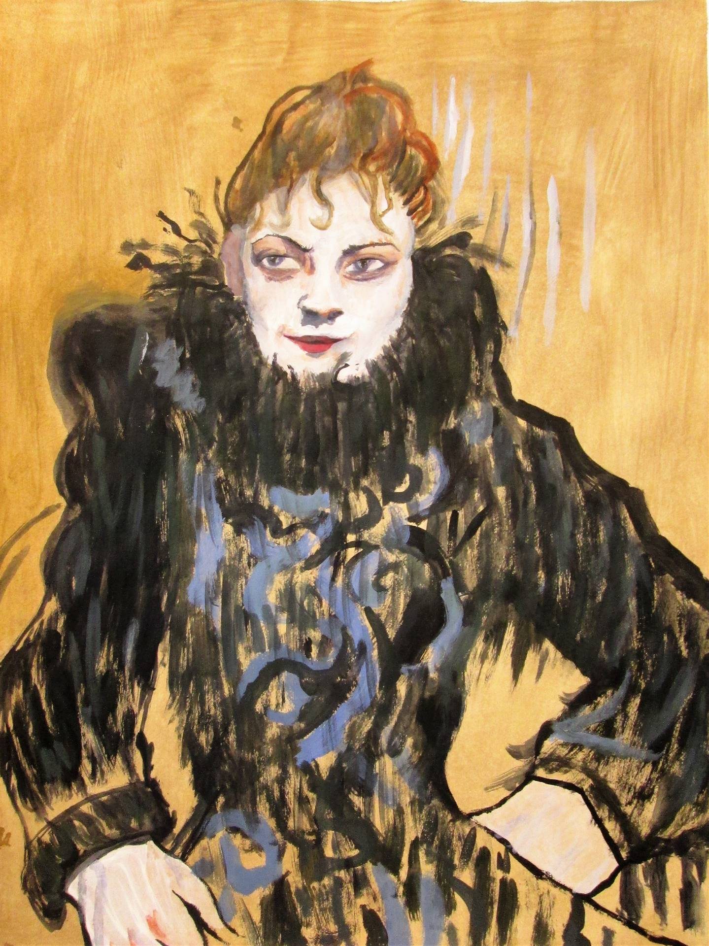 Image of student artwork based on the artist Toulouse Lautrec.