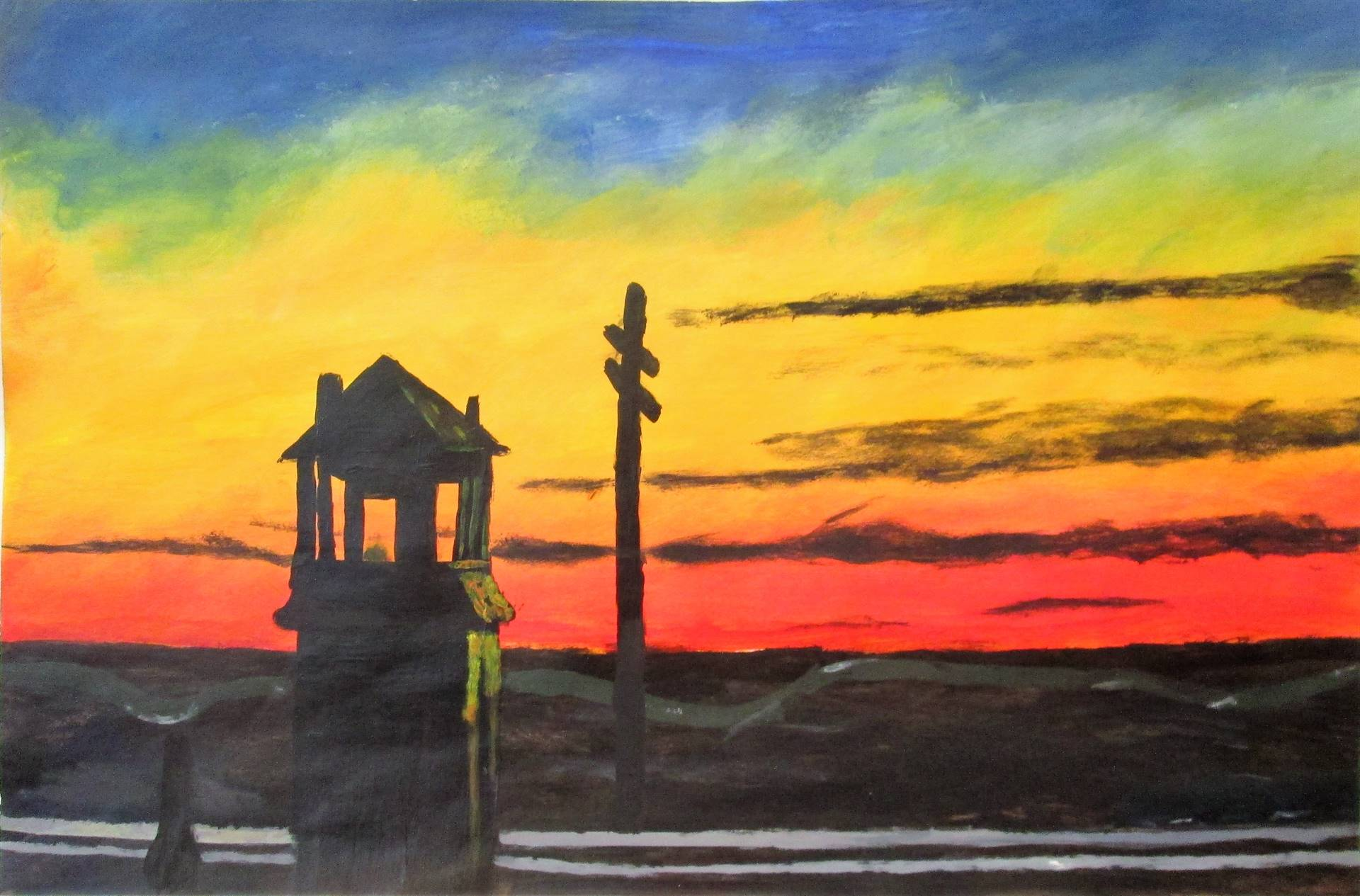 Image of student artwork based on the artist Edward Hopper.