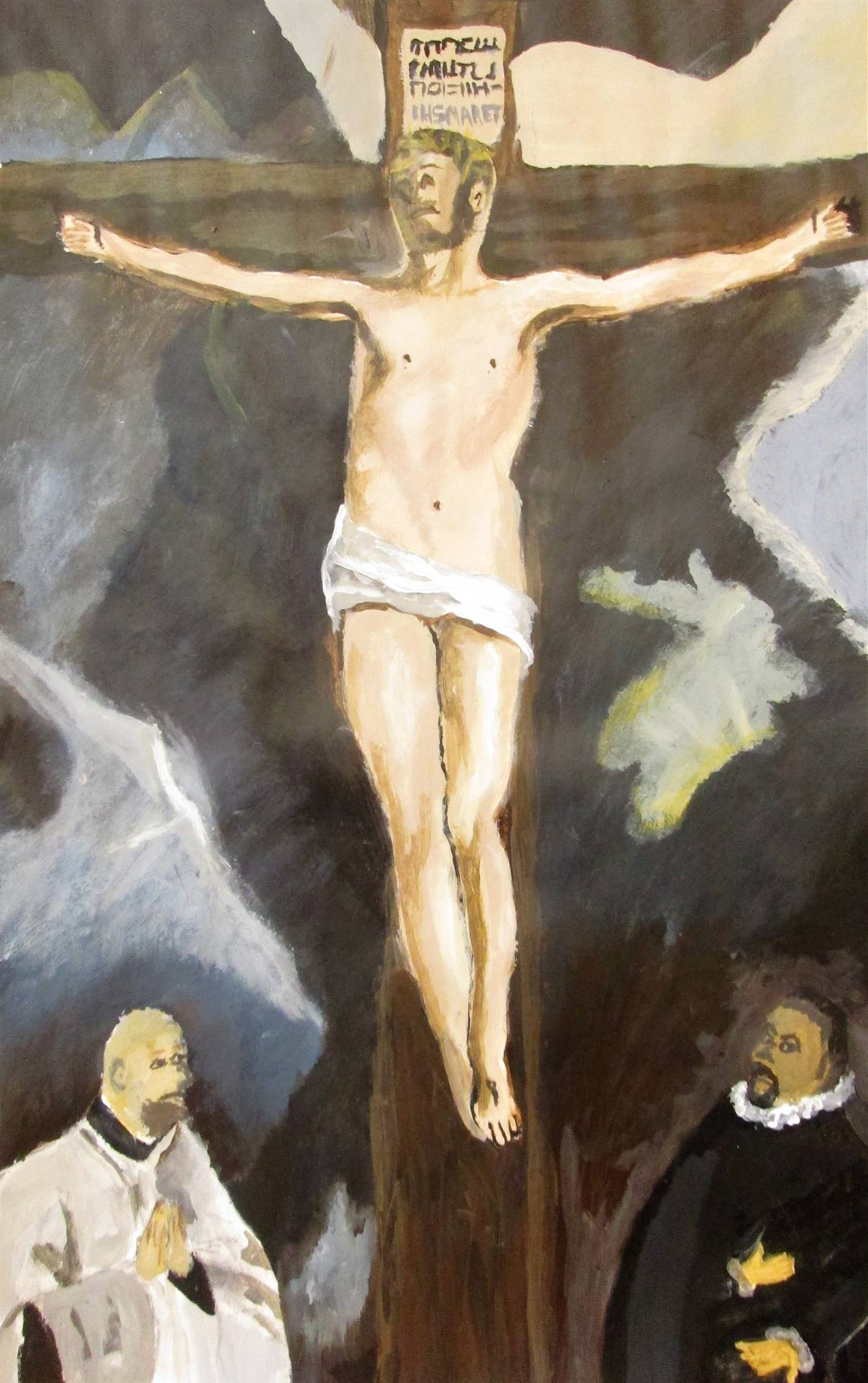 Image of student artwork based on the artist El Greco.