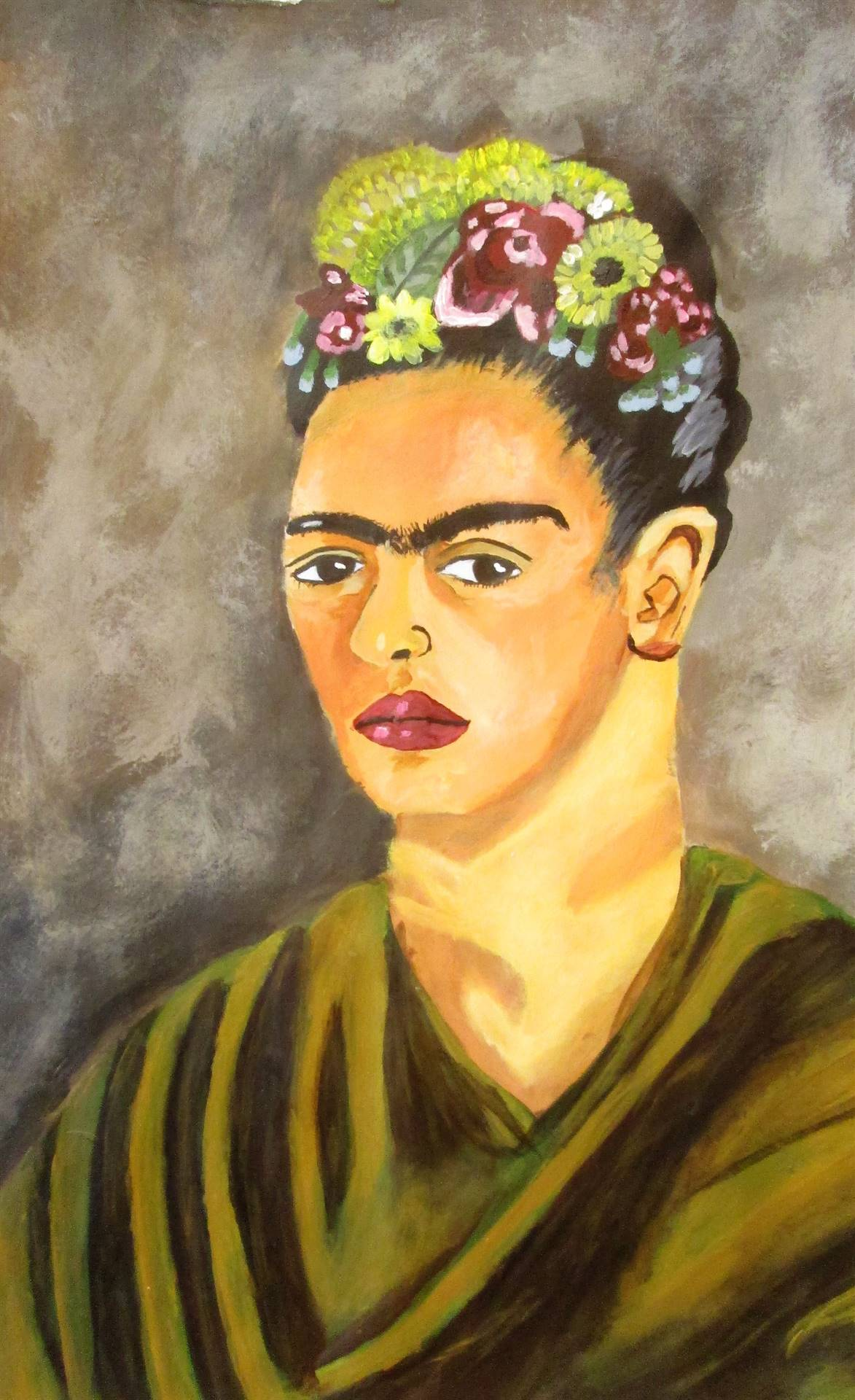 Image of student artwork based on the artist Frida Kahlo.
