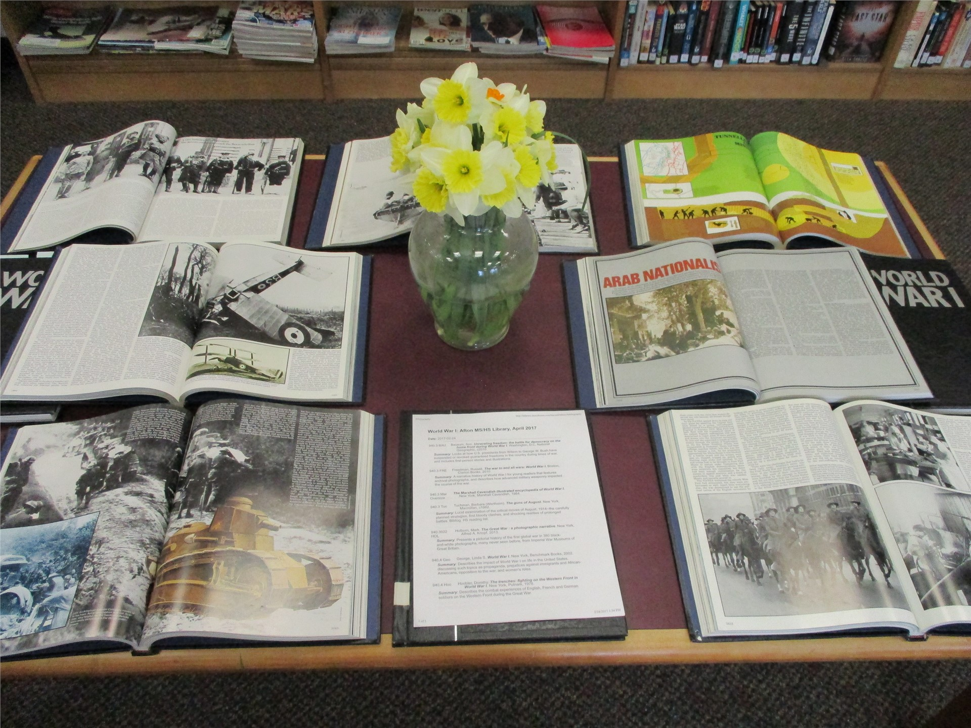 World War I exhibit: display of reference books.