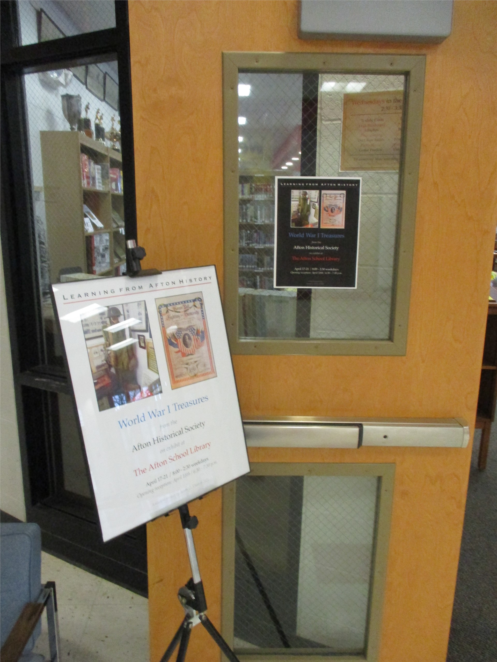 World War I exhibit: Welcoming poster at library entrance.