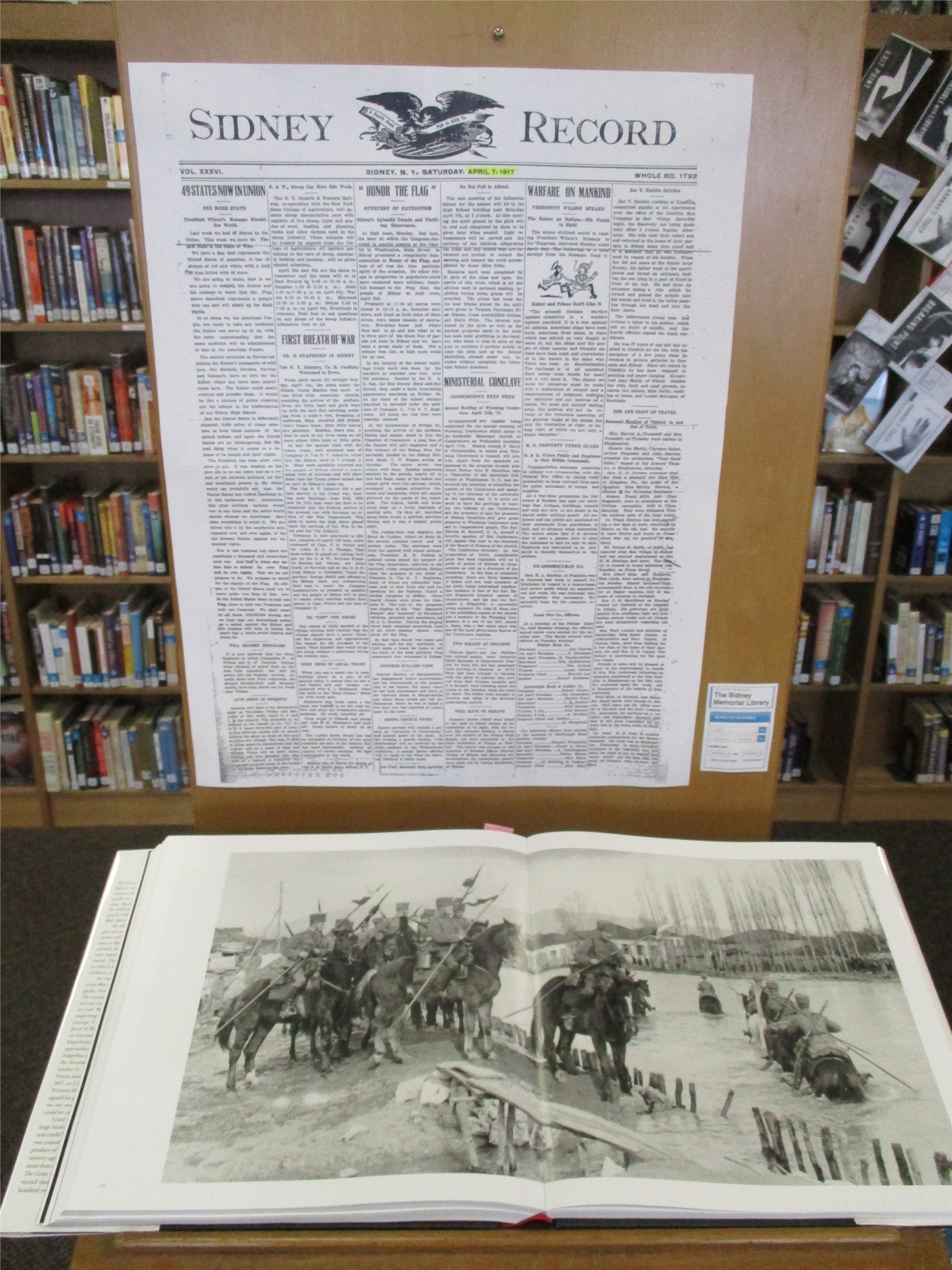 World War I exhibit: image of Sidney Record newspaper from WWI.