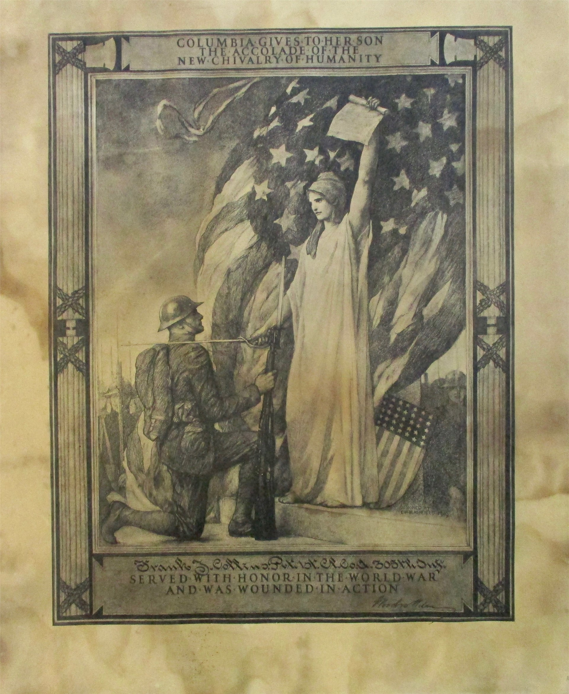 World War I exhibit: Image of commerative document.