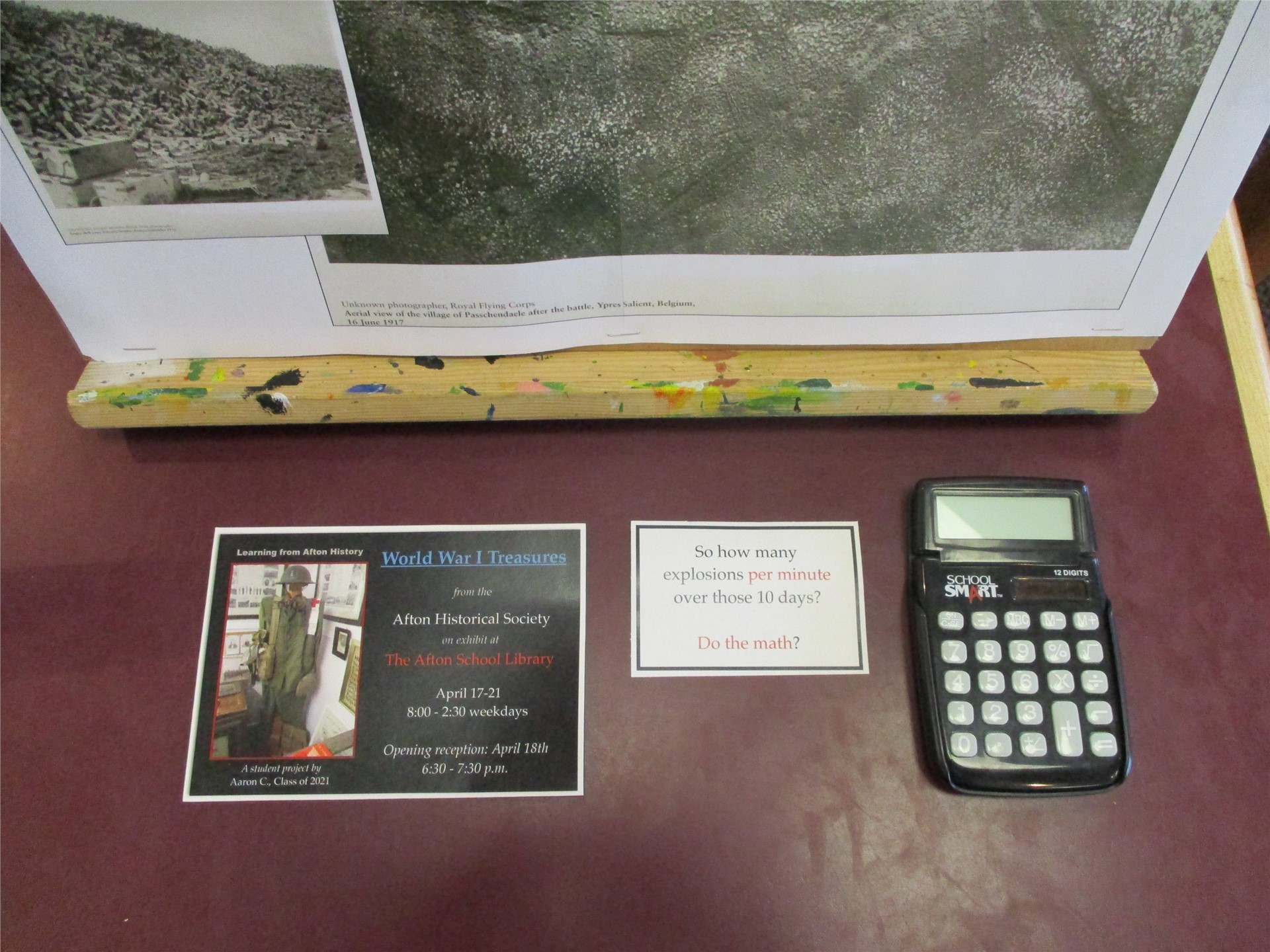 World War I exhibit: interactive artillery calculator display.