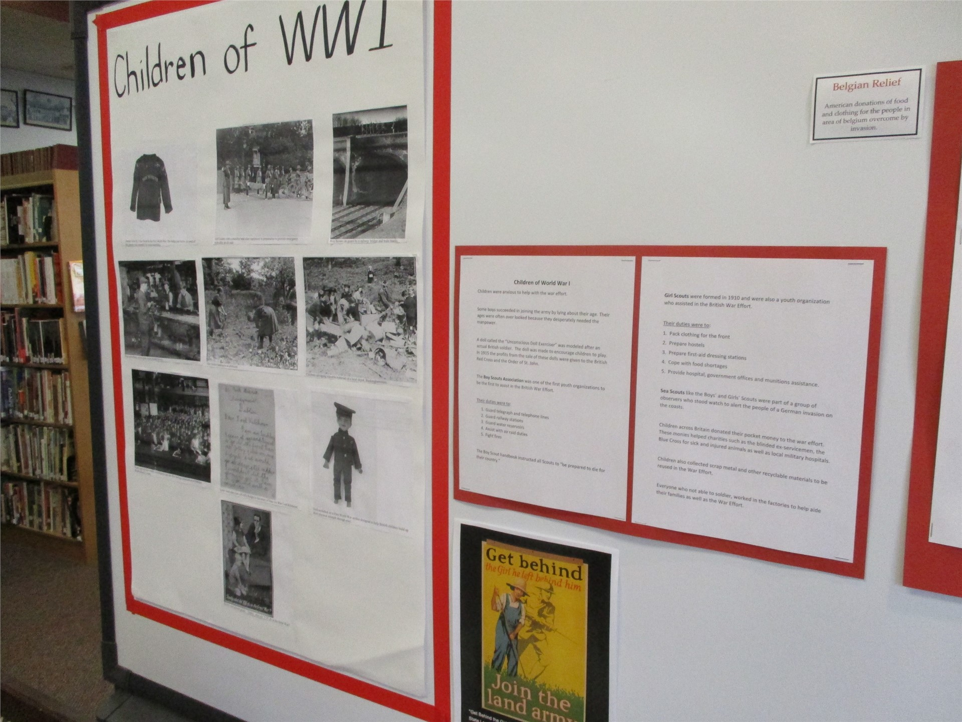 World War I exhibit: children of the war display.
