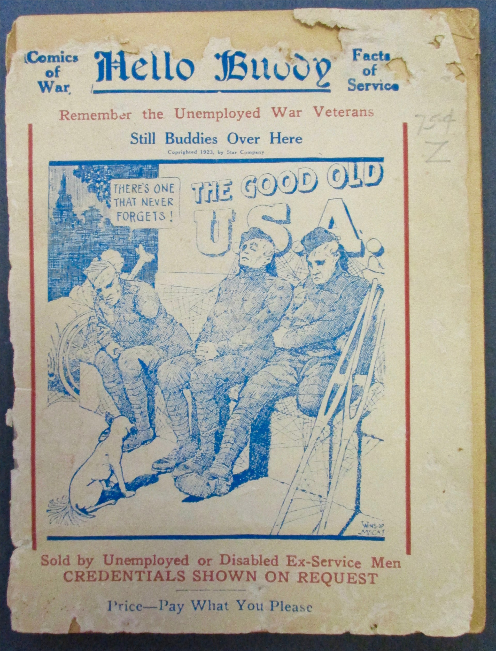 World War I exhibit: Museum artifact: Comic of War