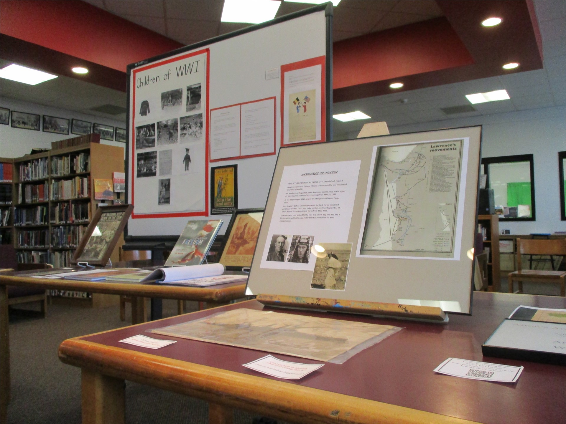 World War I exhibit: view of tabletop displays.