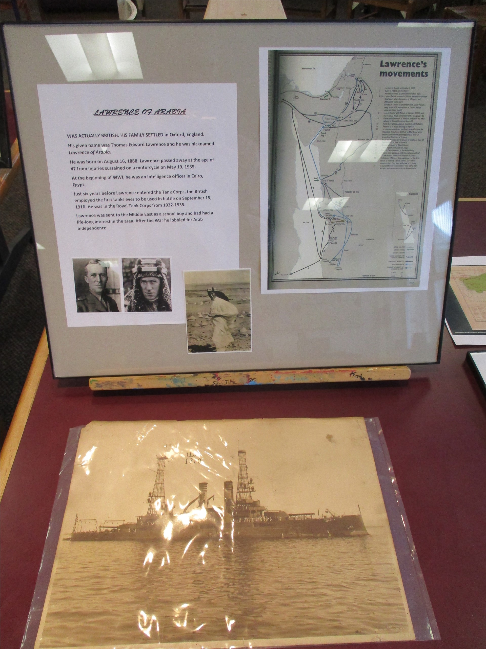 World War I exhibit: display of Lawrence of Arabia overview and map.