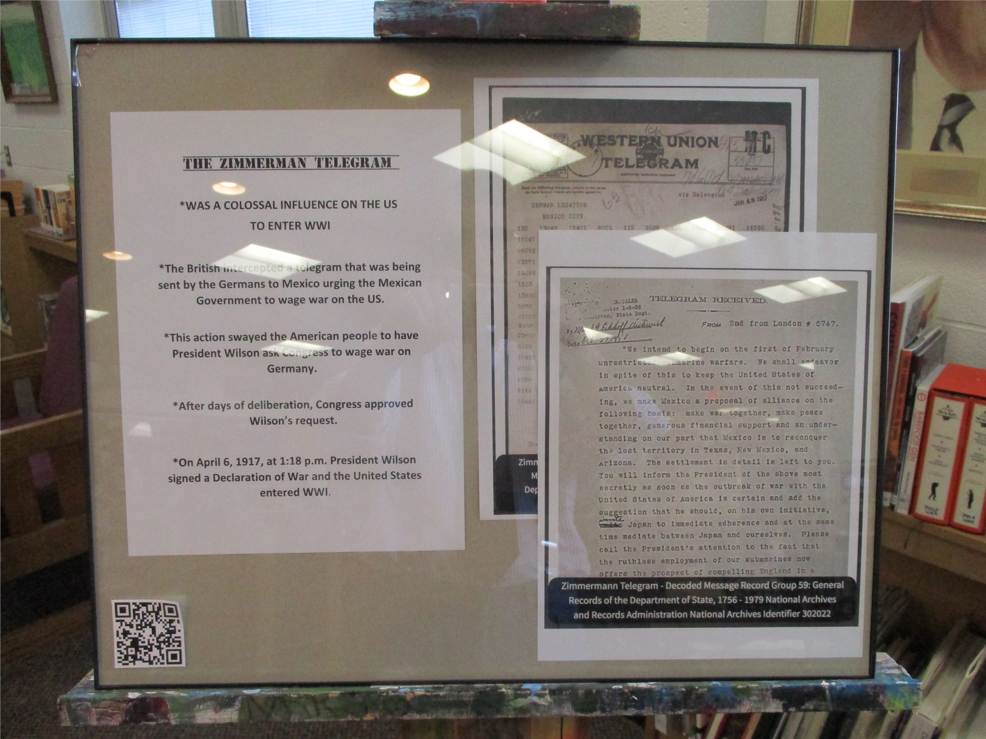 World War I exhibit:  Zimmerman Telegram display.