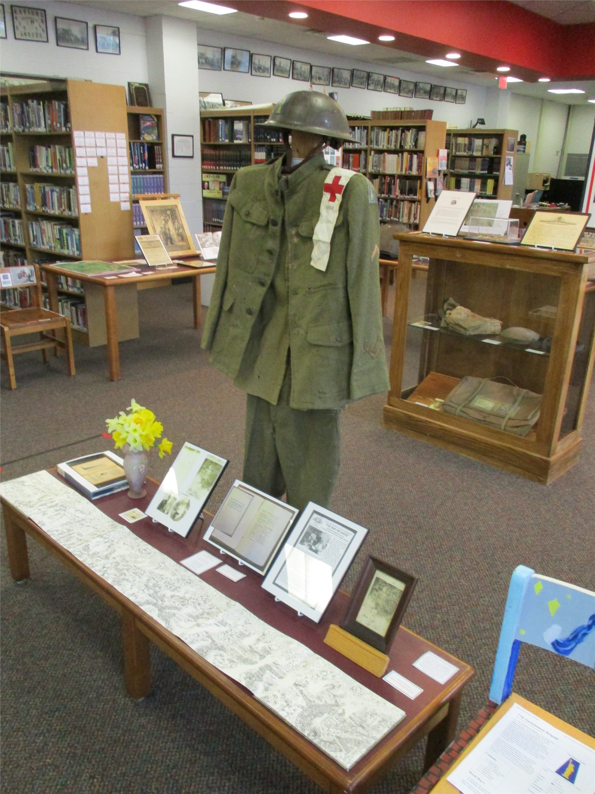 World War I exhibit: Uniform on loan from Historical Society.