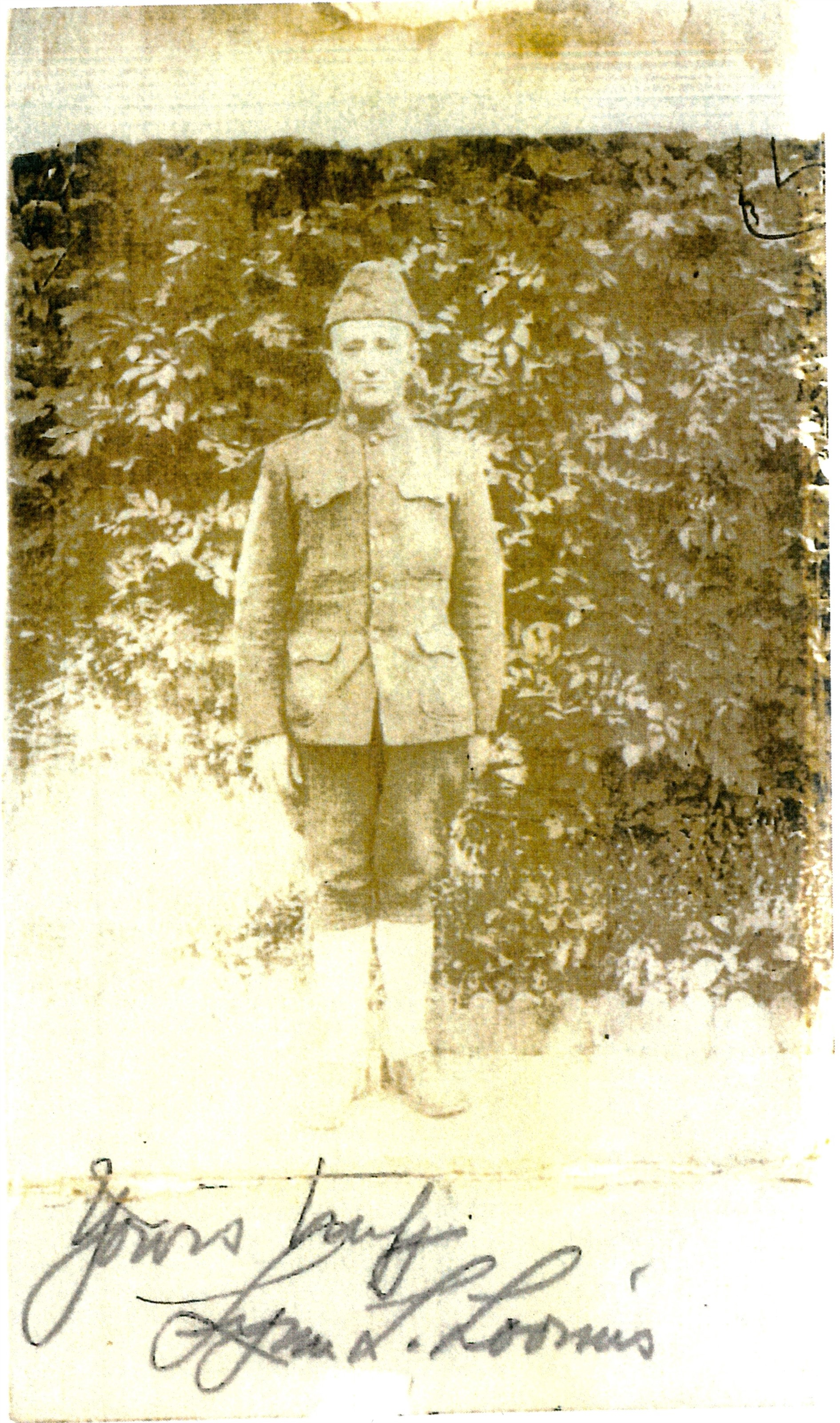 World War I exhibit: Original photograph of Afton WWI soldier.