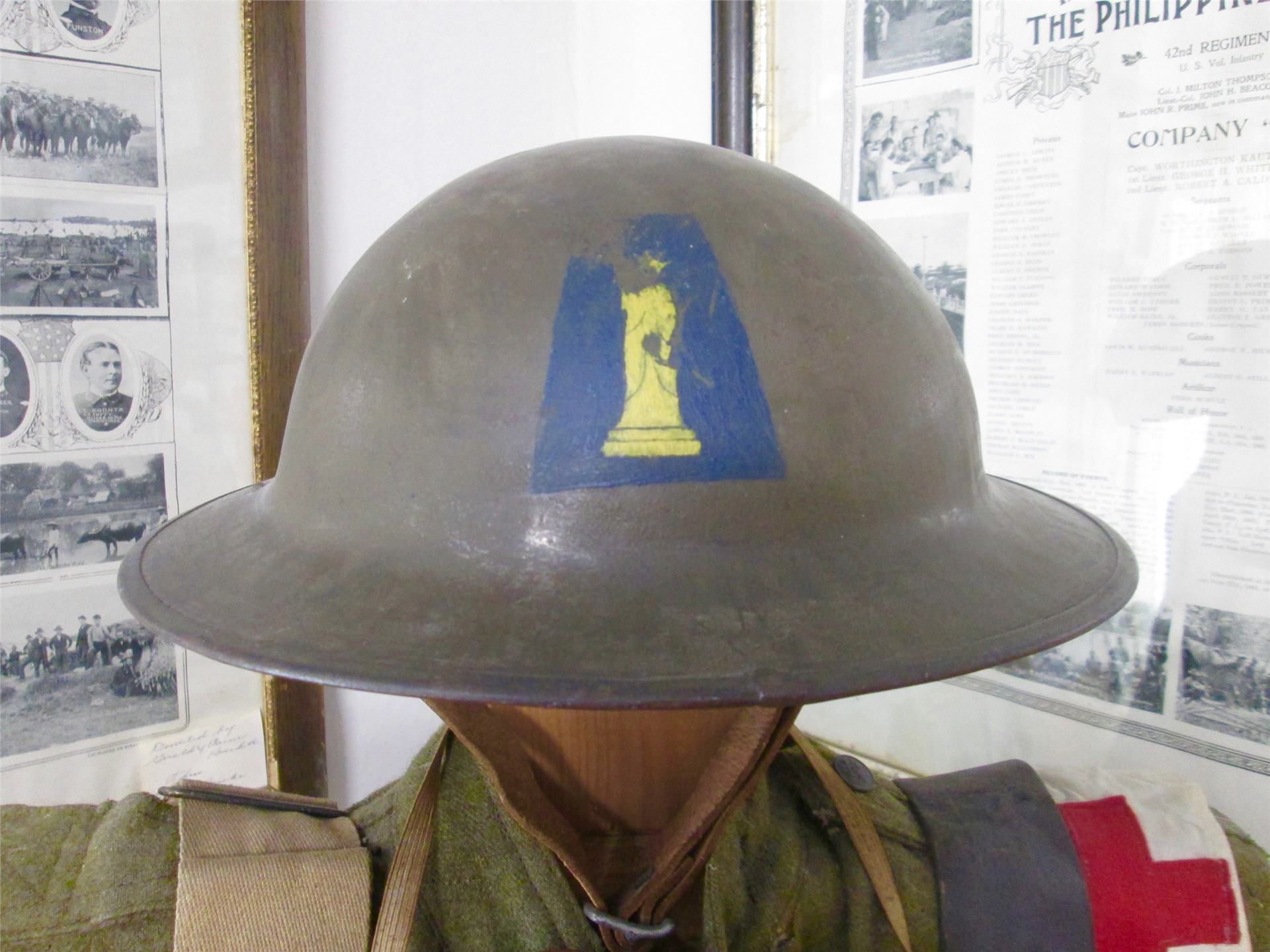 World War I exhibit: Helmet from Liberty Division.