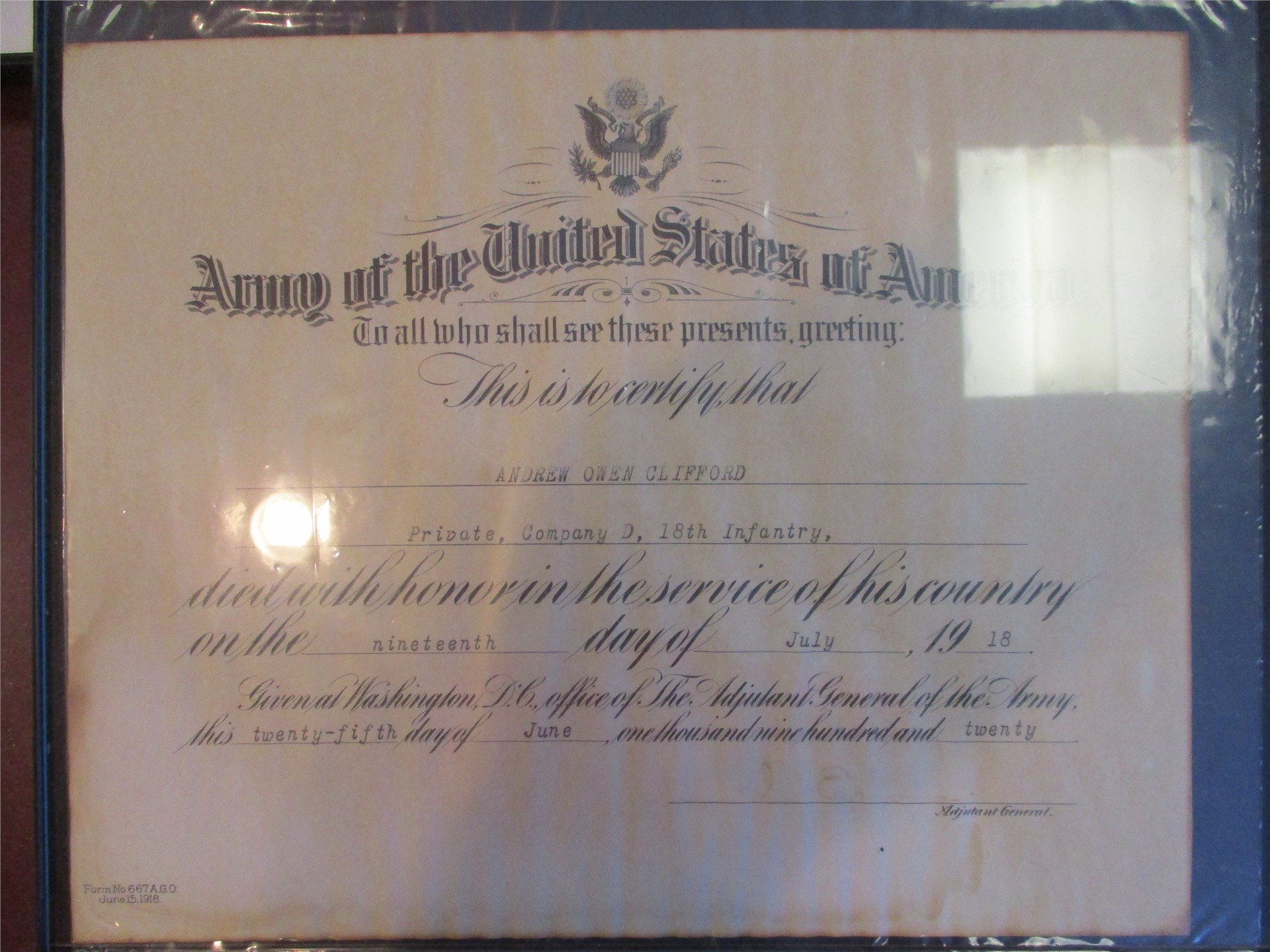 World War I exhibit: Commerative enlistment document for Afton soldier.