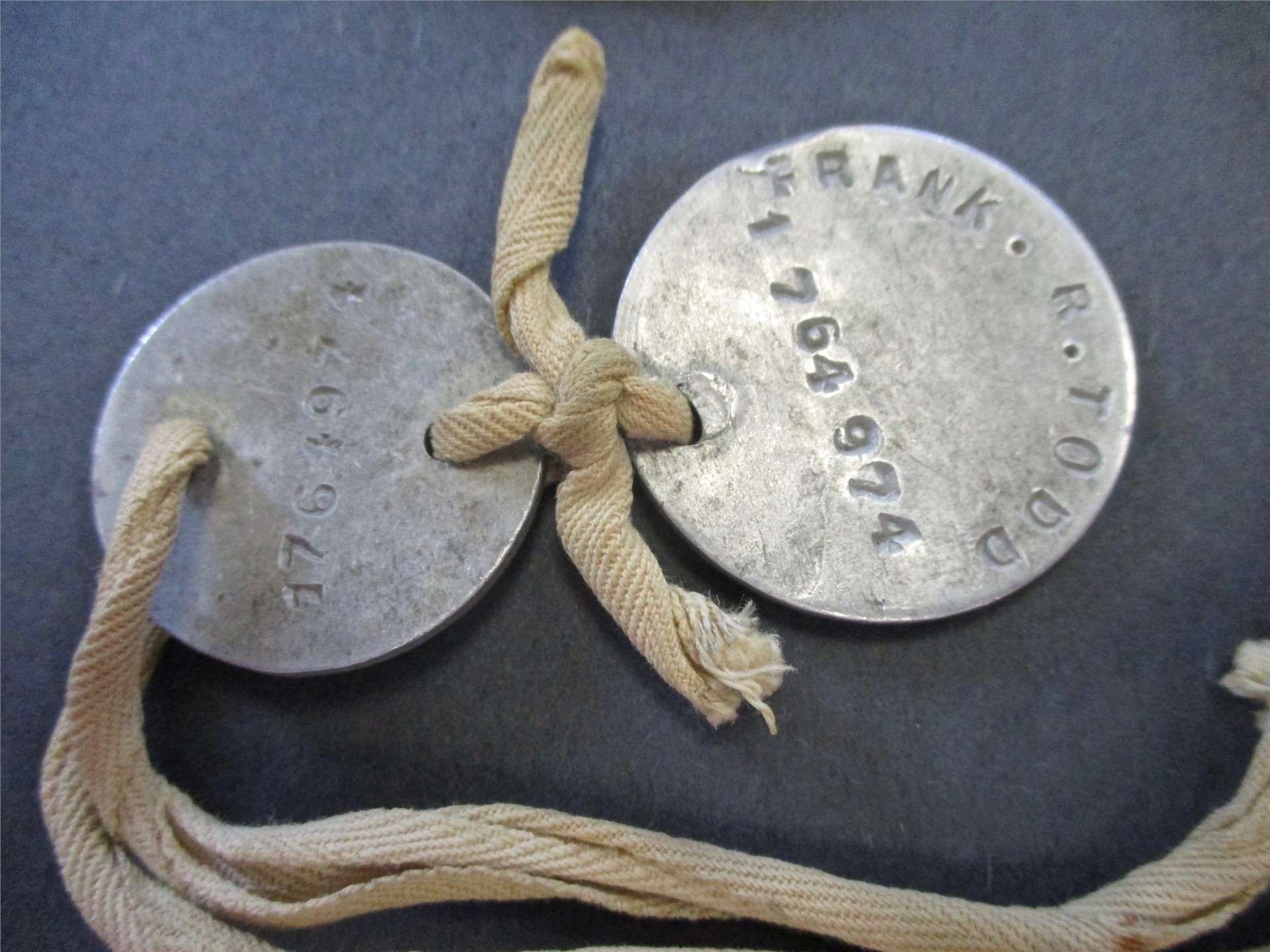 World War I exhibit: Dog tags from Afton naval serviceman.