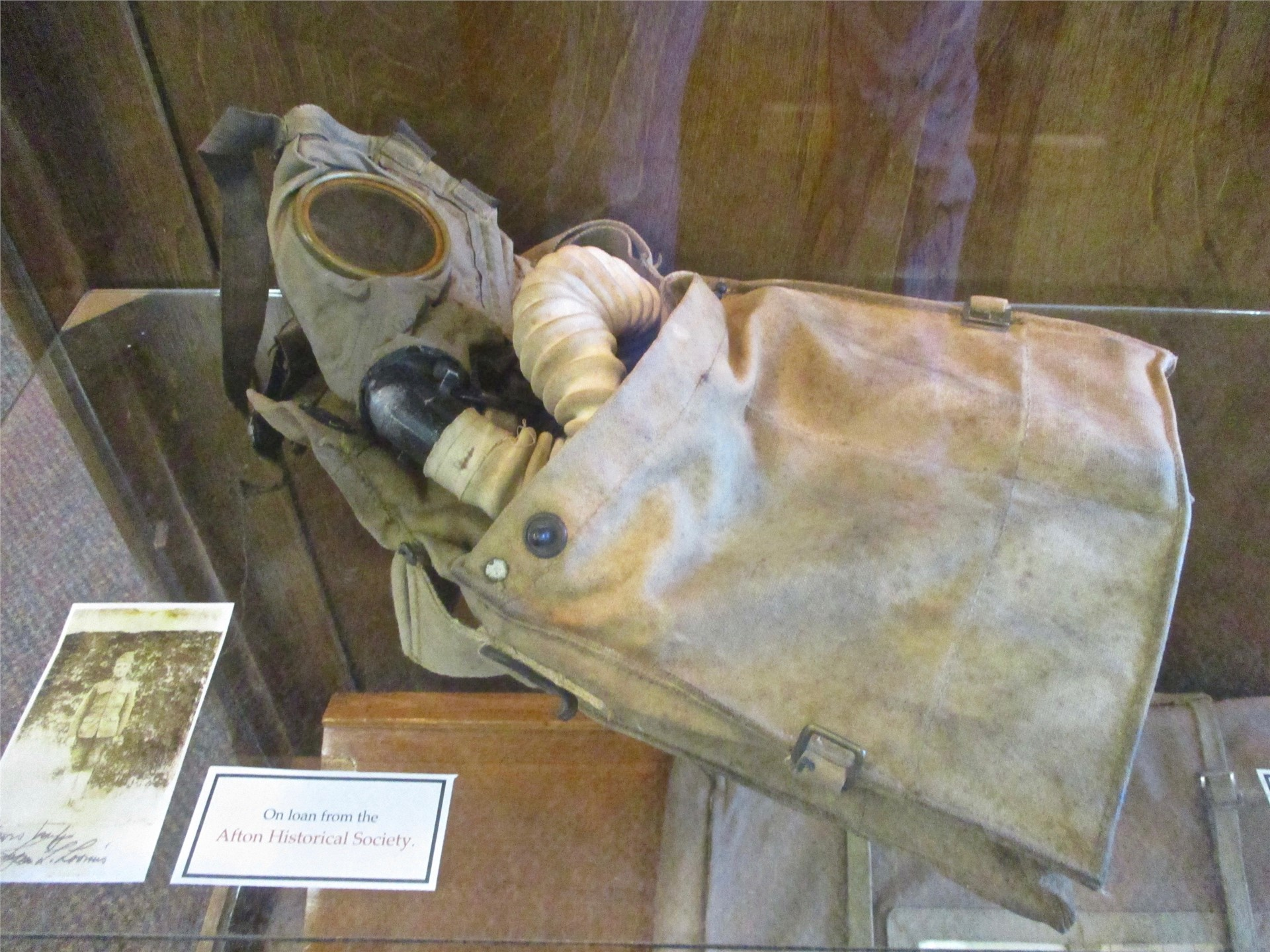 World War I exhibit: display case featuring gas mask.