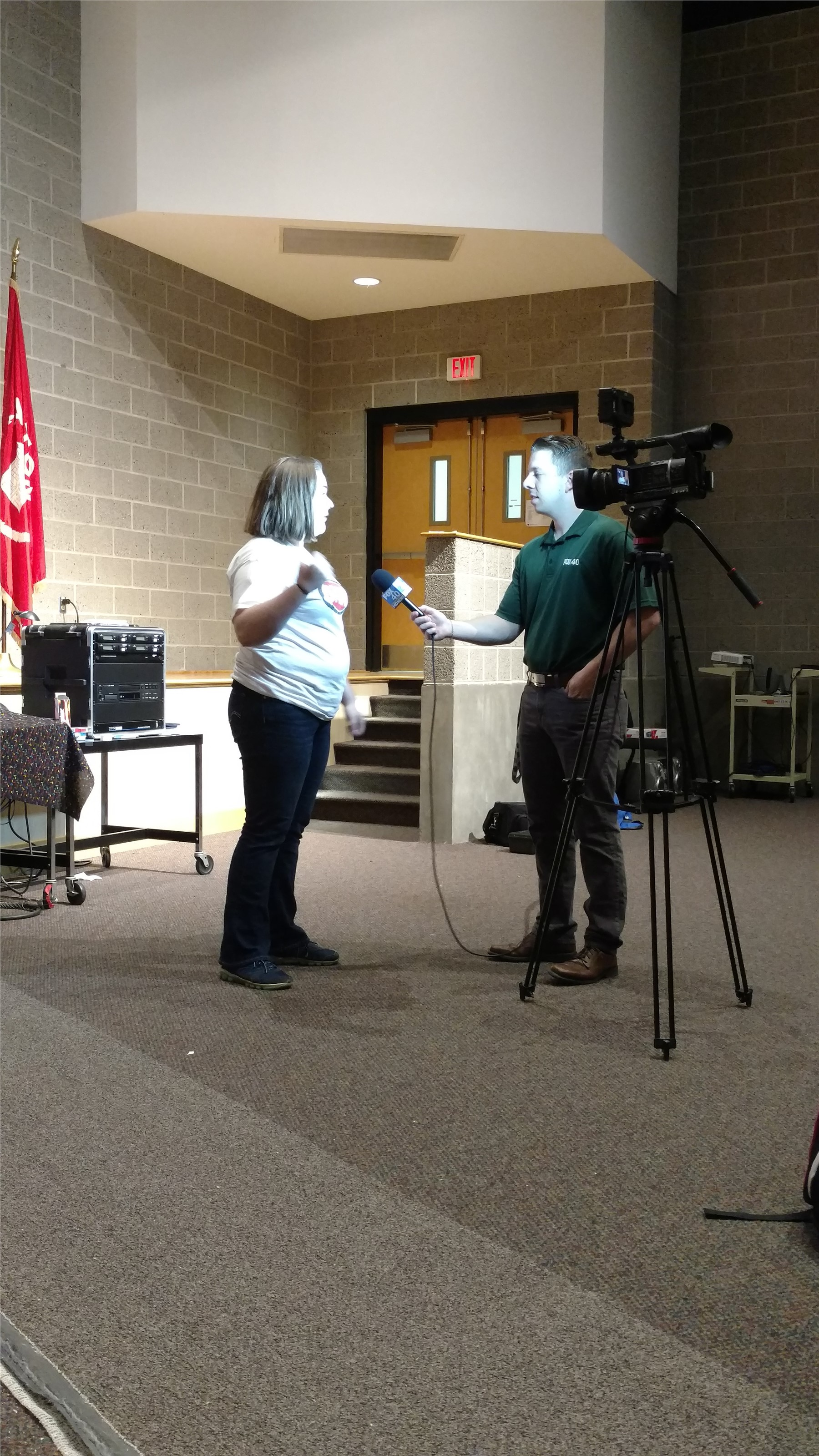 Afton student being interviewed on camera for local news media.