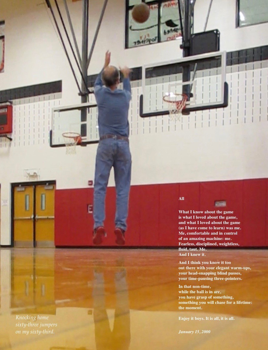 ACSLIB Poster: Man shooting basketball, and a poem about it.