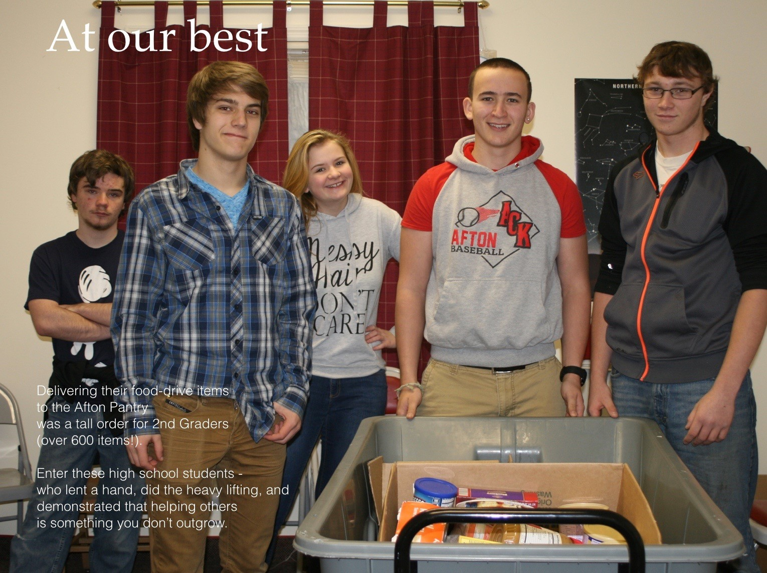 ACSLIB Poster: At our best, group of students helping with food pantry effort.
