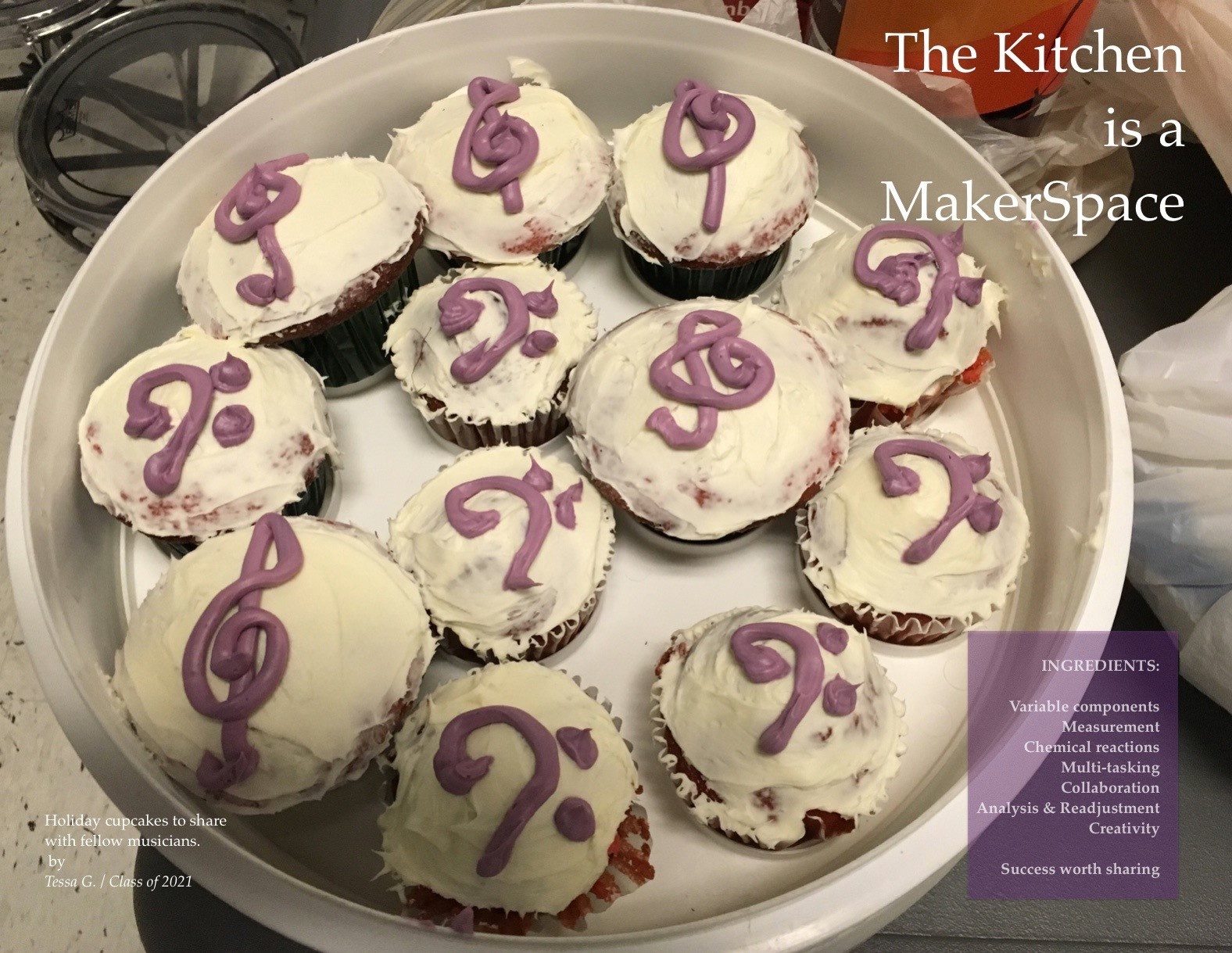 ACSLIB Poster: Cupcakes decorated with music composition symbols.