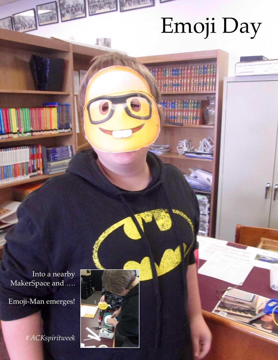 ACSLIB Poster: Student with an emoji mask.