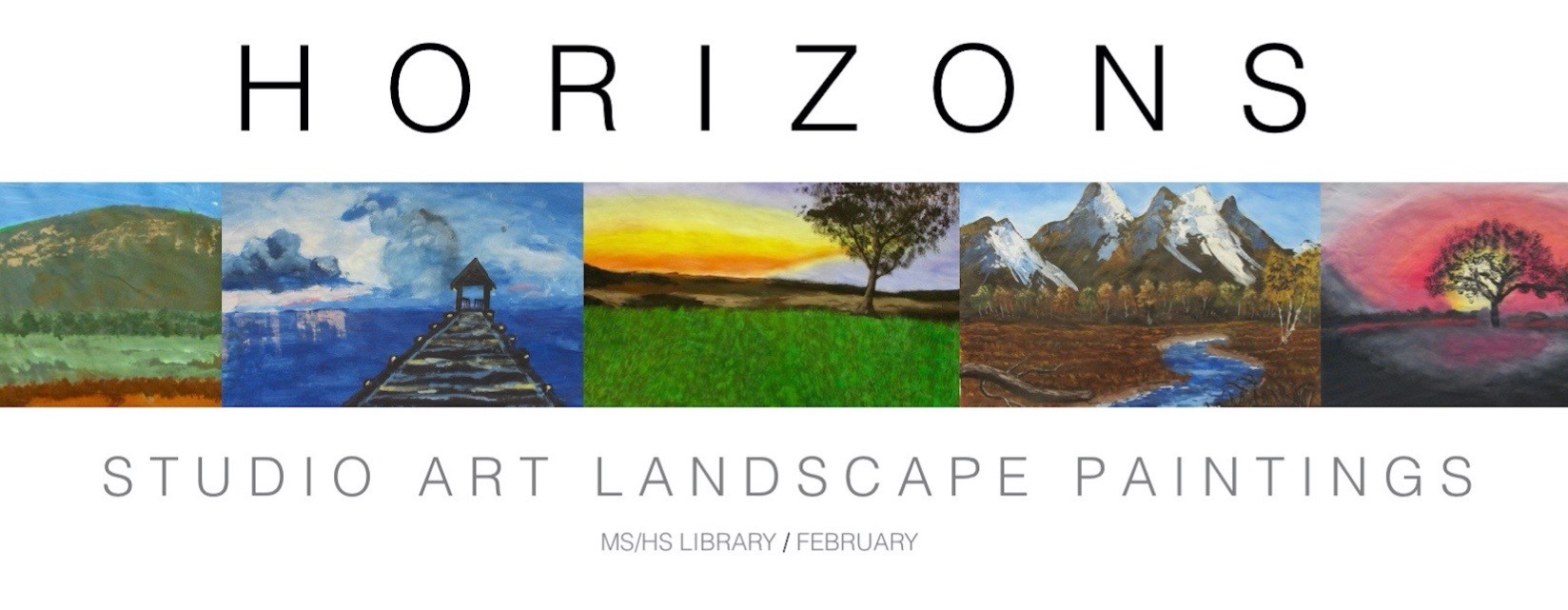 ACSLIB Poster: Promotional poster for student art show featuring landscape paintings.