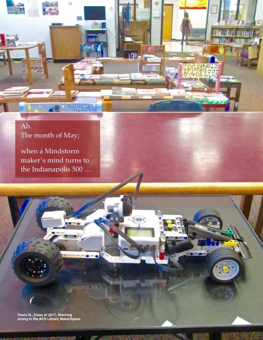 ACSLIB Poster: Image of Mindstorms Lego race car created in MakerSpace.