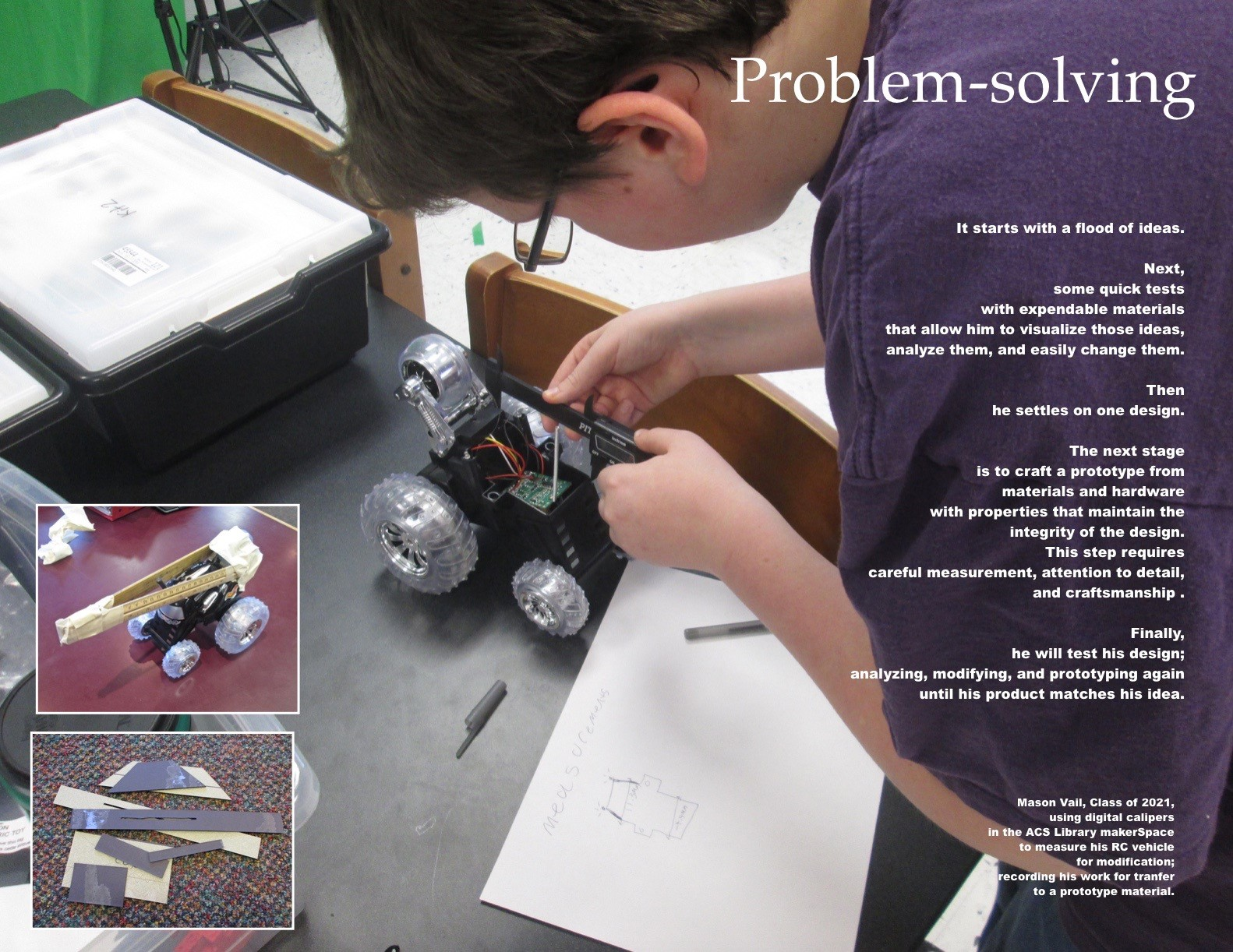 ACSLIB Poster: Celebrating student proble-solving RC race car design.