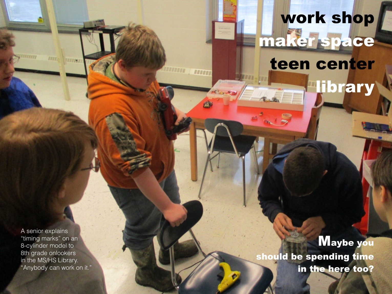 ACSLIB Poster: Team of students collaborating in MakerSpace.