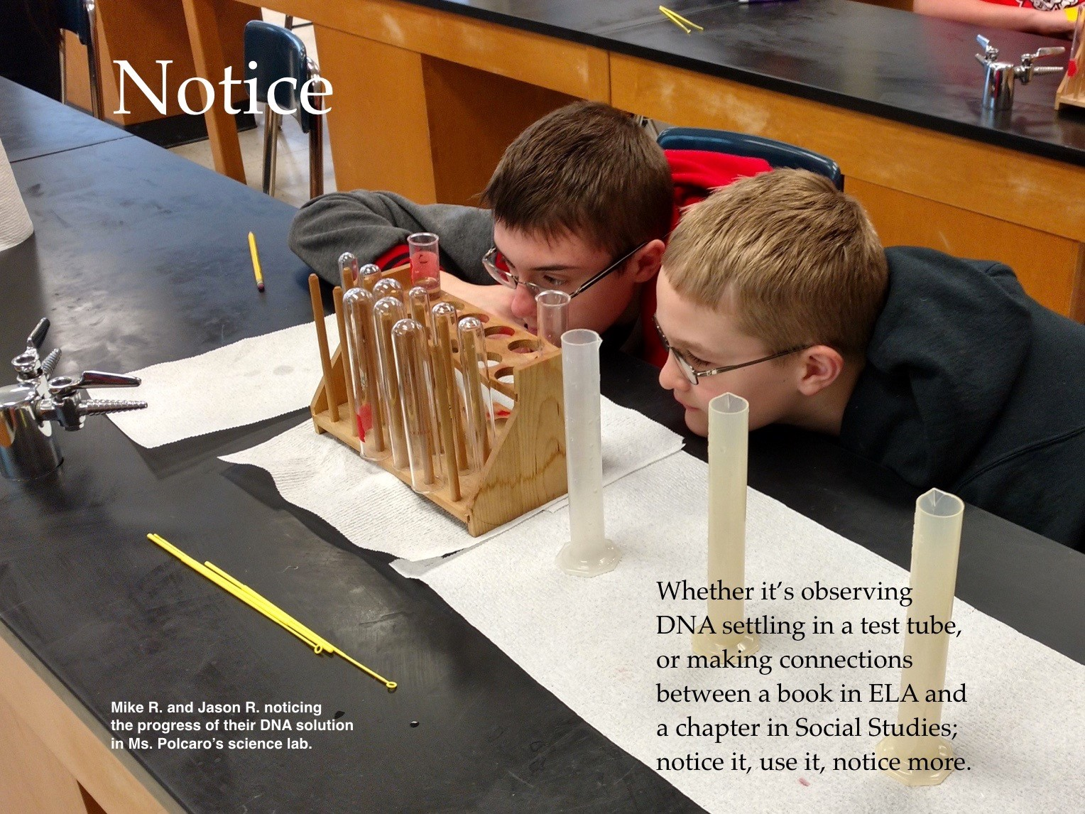 ACSLIB Poster:MS science students intently watching changes in test tube.