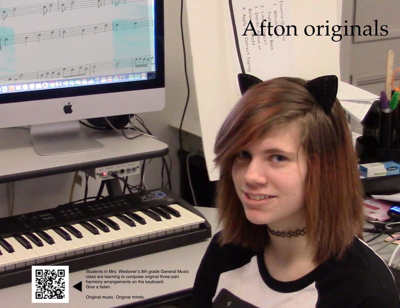ACSLIB Poster: Music student pictured with hermusical composition on-screen.
