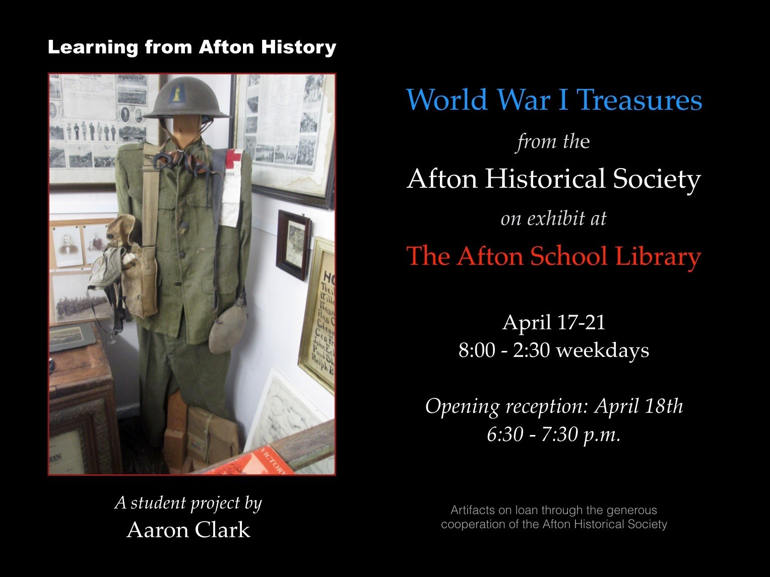 ACSLIB Poster: Promotional piece for WWI exhibit featuring uniform.