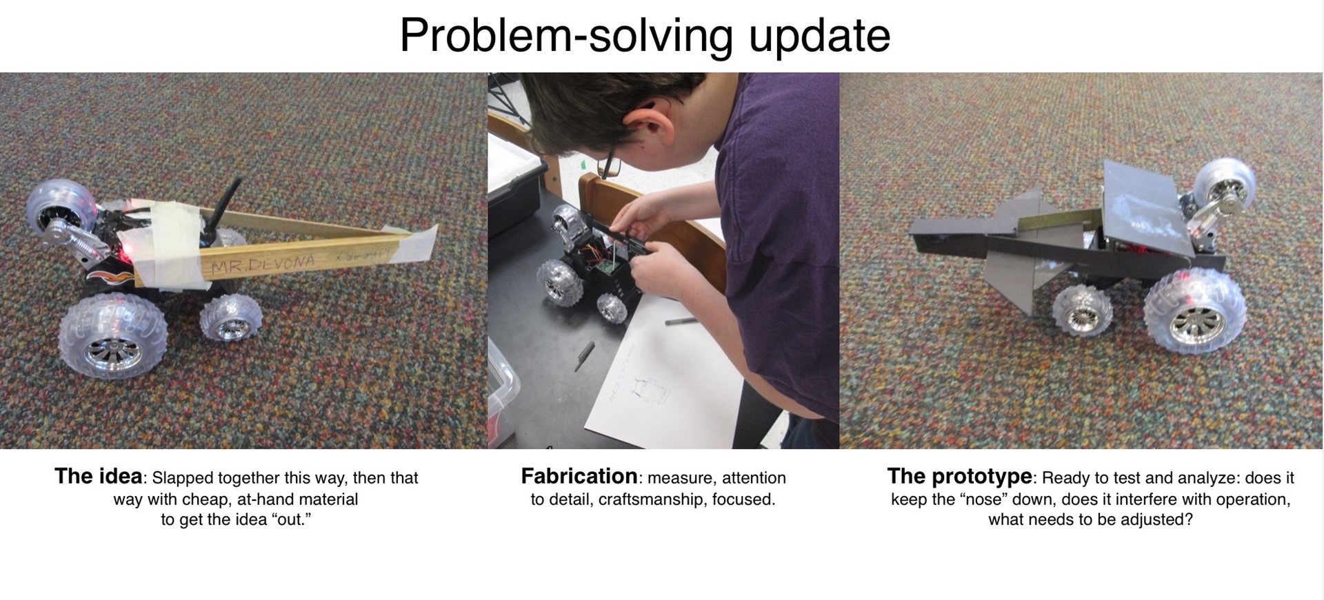 ACSLIB Poster: Before and after images of student-modified RC car in MakerSpace.