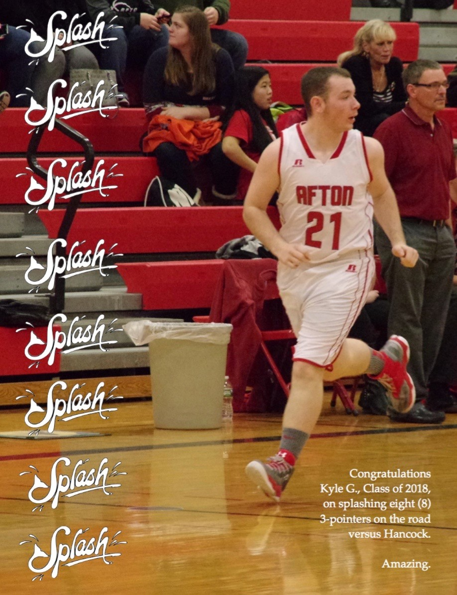 ACSLIB Poster: Celebrating ACS basketball player; running down court.