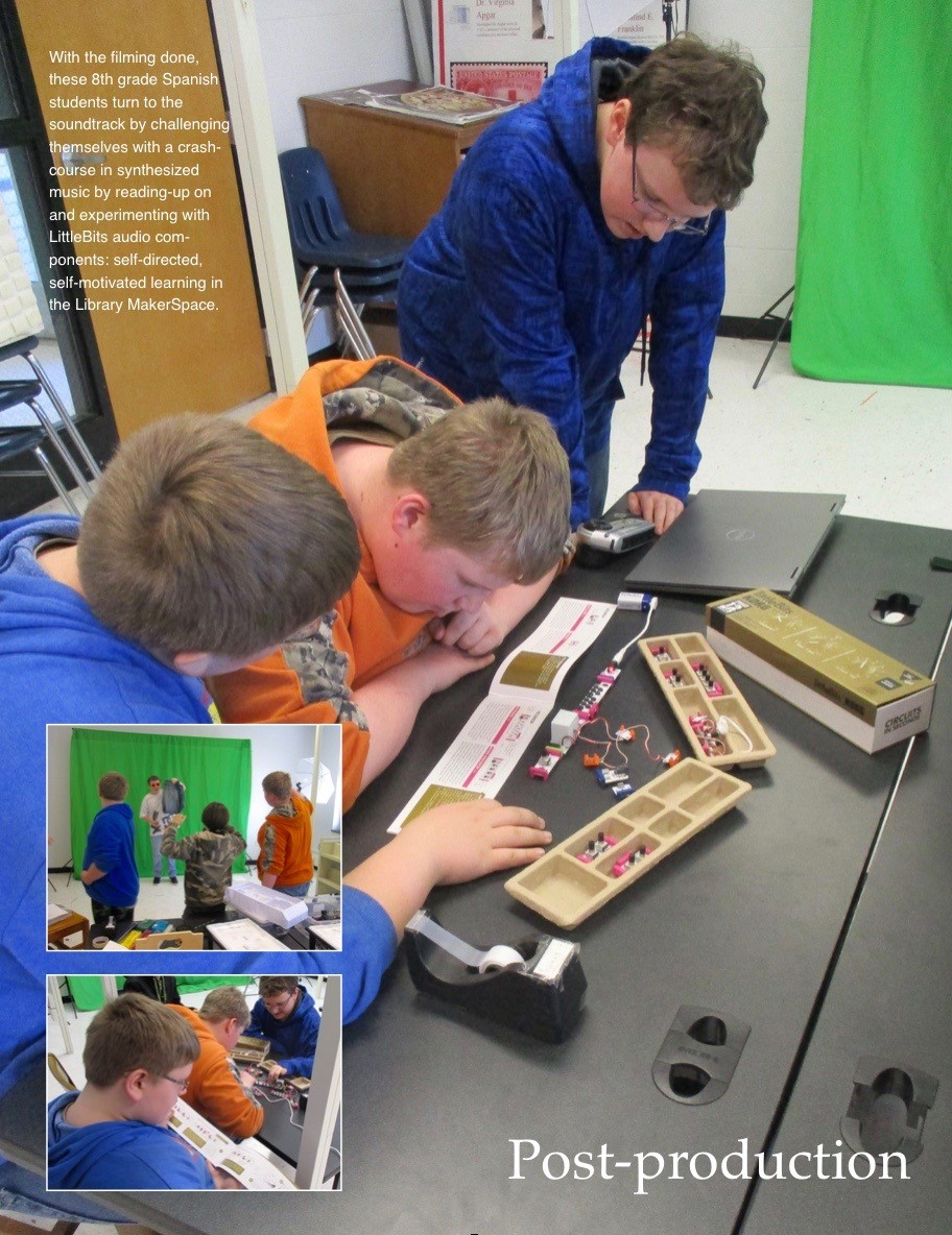 ACSLIB Poster: Three students configuring electrical components in MakerSpace.